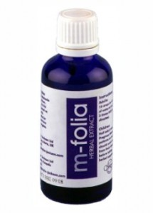 M-Folia Herbal Extract for Psoriasis 50ml blue glass bottle